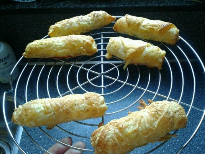 Home made croissants with salami and cheese, great for sunday morning breakfast