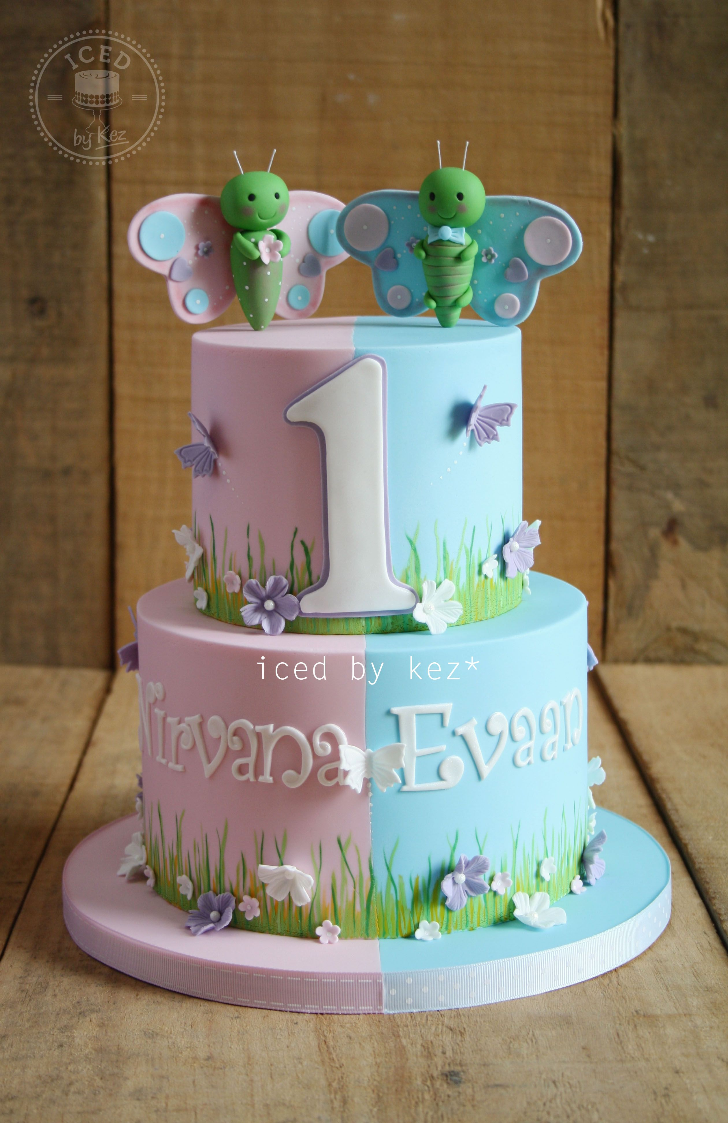 Butterfly Cake for Twins iced by kez halfandhalfcake