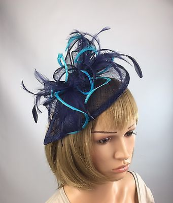 Navy Blue And Turquoise Fascinator Occasion Wedding Races Mother Of The  Bride  7e3df9ea880