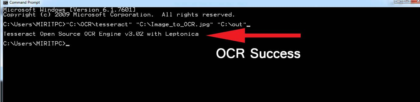 Convert image to text using CMD Command Prompt, Tesseract Optical