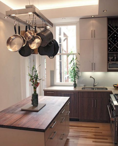 Image Result For Hanging Pots And Pans In A Modern Kitchen