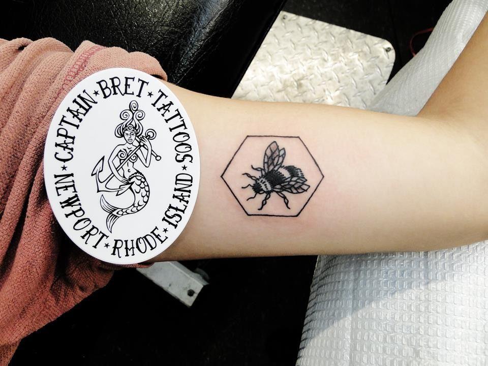 Bee Tattoo Hexagon Tattoos TattoosByCaptainBret NewportRI Newport
