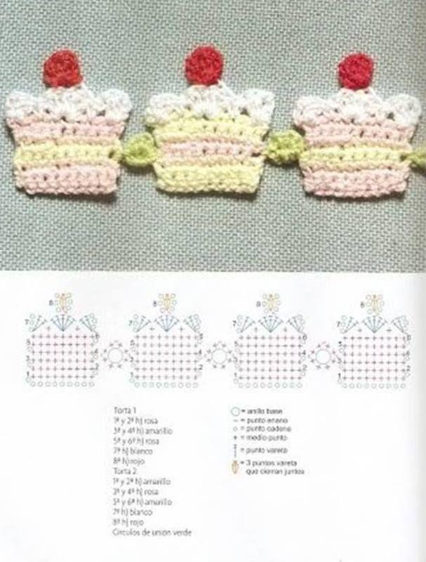 DIY: Bicos de crochê com gráfico | Corazones de ganchillo, Crochet ...