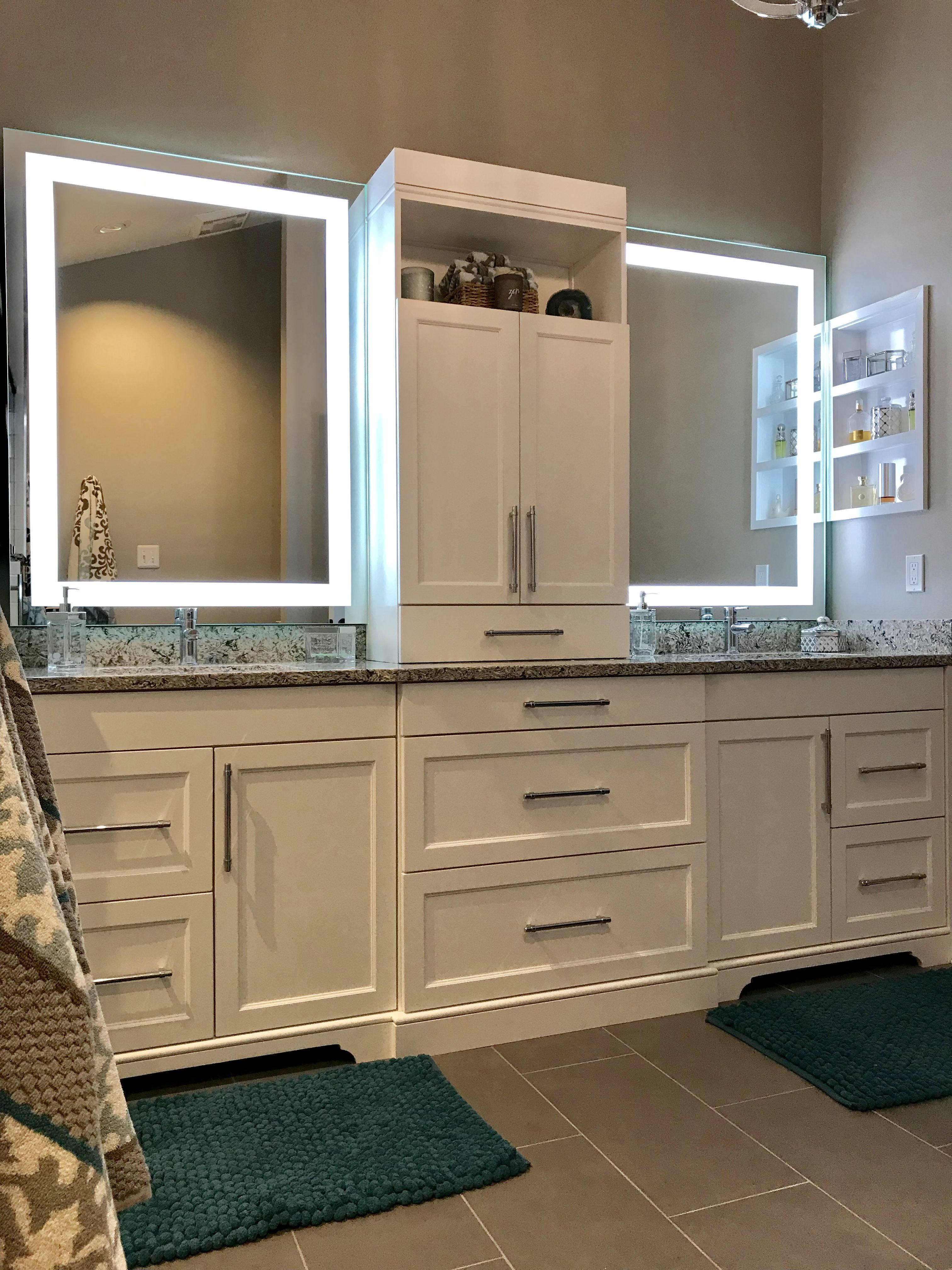 Custom White Double Vanity With Center Tower And Led Mirrors We Love All The Storage We Now Have The M Double Vanity Bathroom Bathroom Vanity Bathroom Design