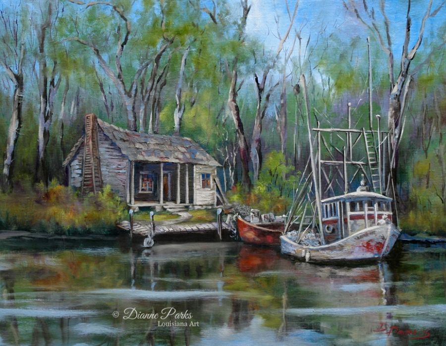 Louisiana Swamp Cabins | New Orleans Arts Market » Dianne Parks. Artist  Painting The New