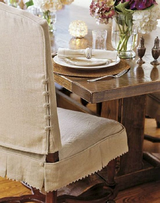 close-up of closure detail on dining chair slipcover | she's