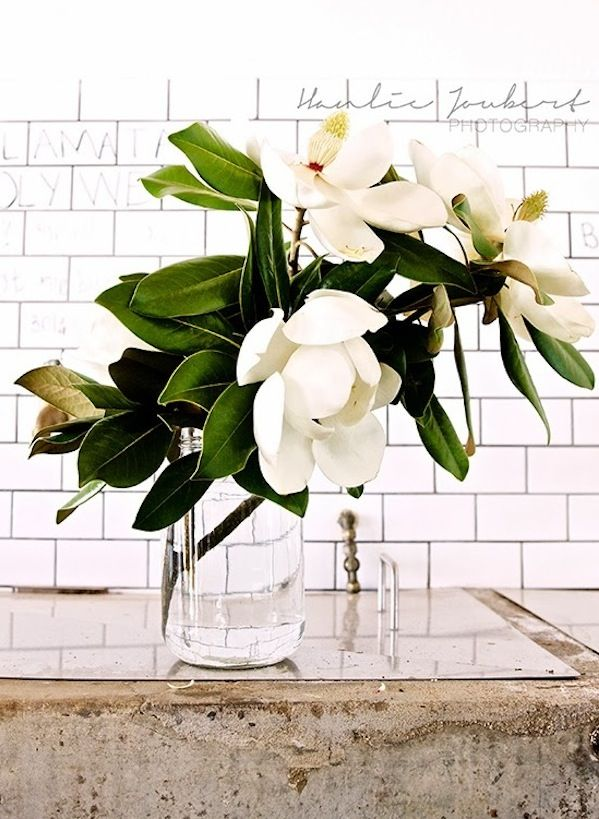 Southern stems magnolia centerpiece