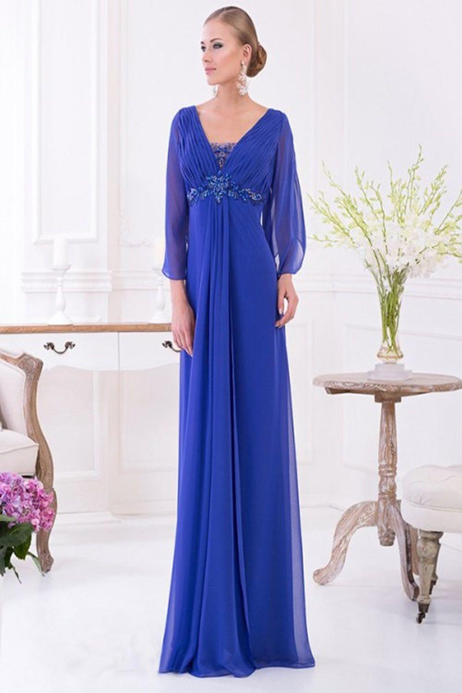 Brand New Chiffon Floor Length V-neck Long Sleeve Customize Prom ...