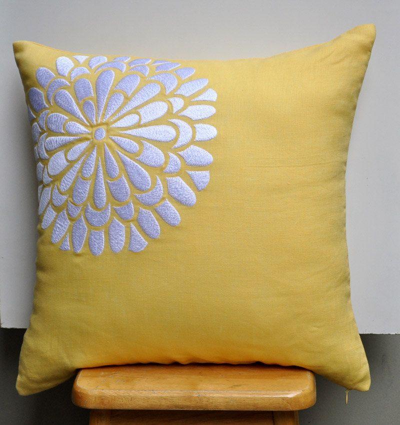 Yellow White Decorative Pillow Cover White Flock Flower On Yellow Linen Pillow Accent Pillow Yellow Cushion Pillows Blue Throw Pillows Yellow Throw Pillows
