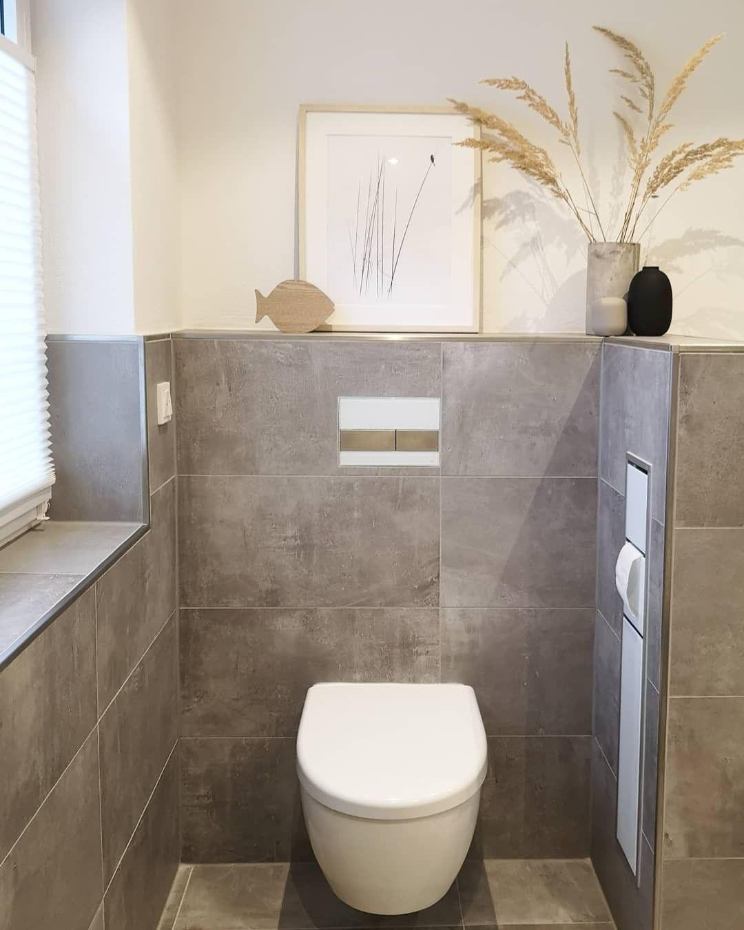 Badezimmer in Betonoptik grau weiß