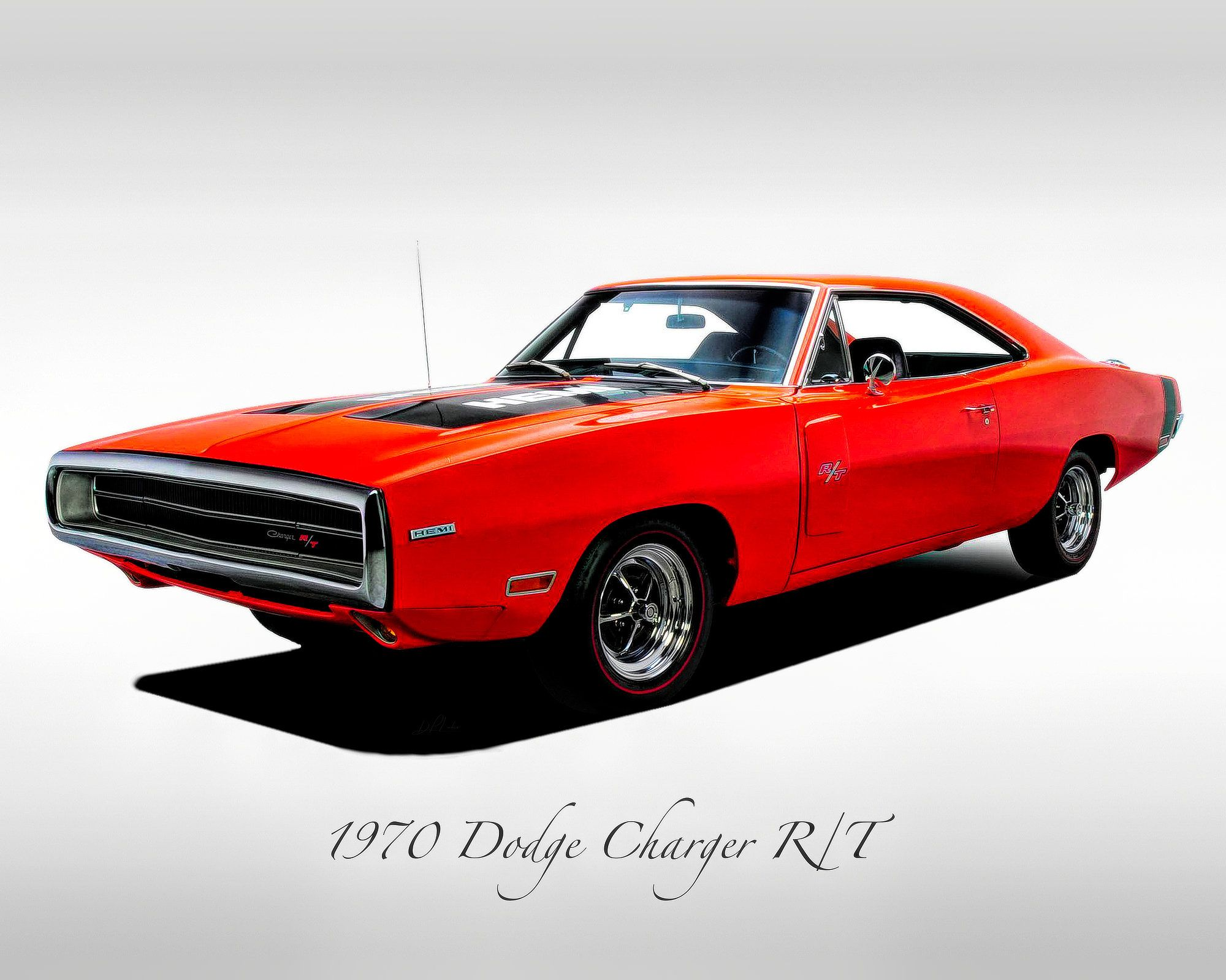 Classic Cars – 1970 Dodge Charger R/T Red – Muscle Car – Print