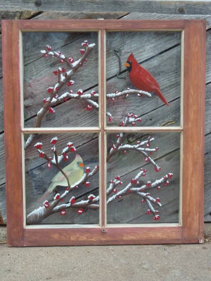 Great Idea For Old Window Painting Window Crafts Painted Window Panes Window Pane Art