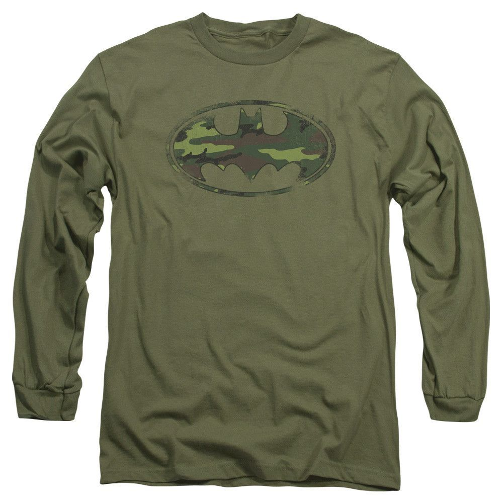 BATMAN/DISTRESSED CAMO SHIELD - L/S ADULT 18/1 - MILITARY GREEN -