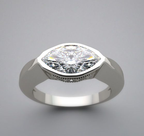 East West Marquise Diamond Ring Feminine East To West