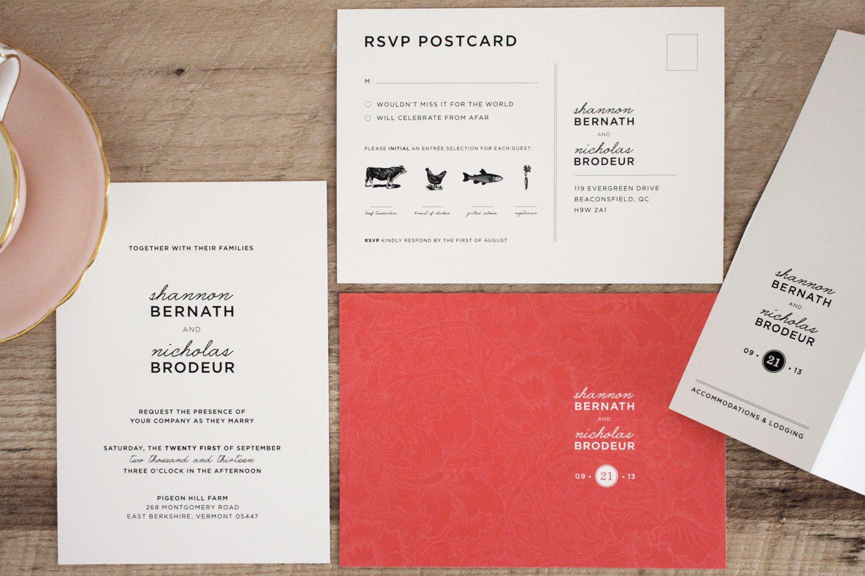 Wedding Invitation Design by Chalk   Invitation + RSVP Postcard + ...