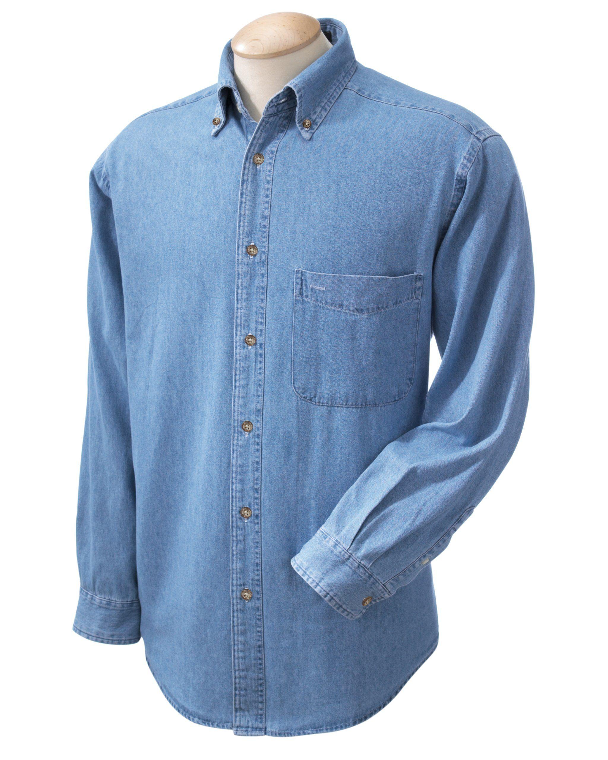 534867d9bc6 Harriton Men s 6.5 oz. Long-Sleeve Denim Shirt - LIGHT DENIM - S M550-simple