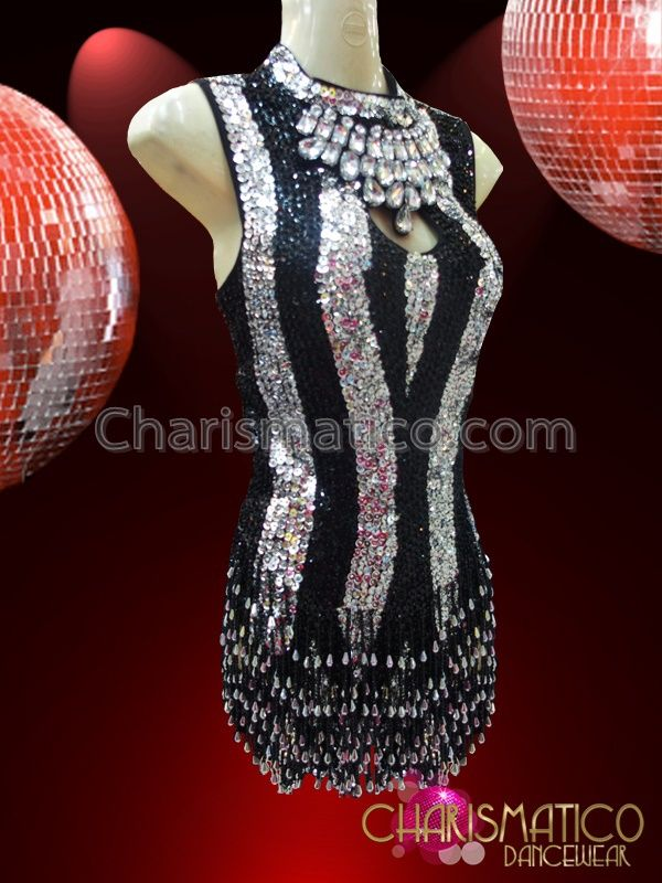 1e3c9480ed44 Charismatico Dancewear Store - CHARISMATICO Black and Silver Stripe Sequin  Dress With Beaded Fringe Skirt ,