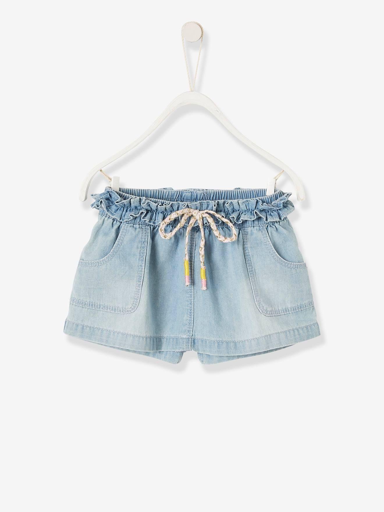 Jupe-short bébé fille en jean délavé denim bleached – Vertbaudet
