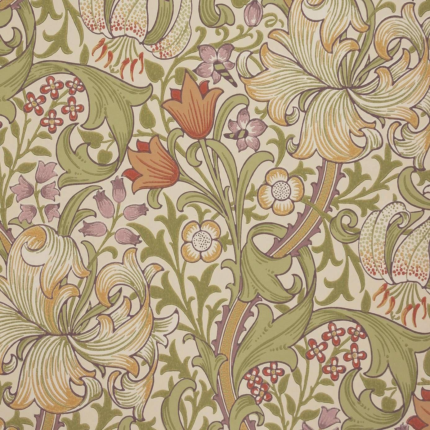 William Morris & Co Golden Lily Wallpaper - Olive ...
