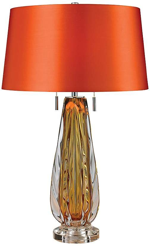 Eye Catching Glass Table Lamp With An Orange Faux Silk Shade Orange Table Lamps Glass Table Lamp Table Lamp