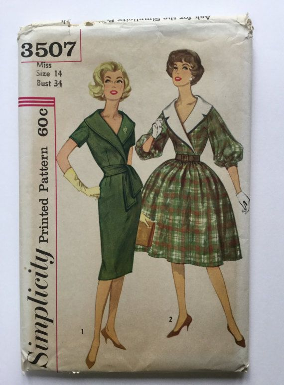 1960 Vintage Simplicity Pattern 3507, Junior and Misses' dress with detachable collar and sash, Size 14, Bust 34 ins, cut
