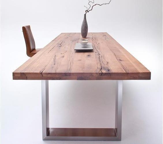 moderne massivholzmöbel esstische eiche edelstahl Casa design