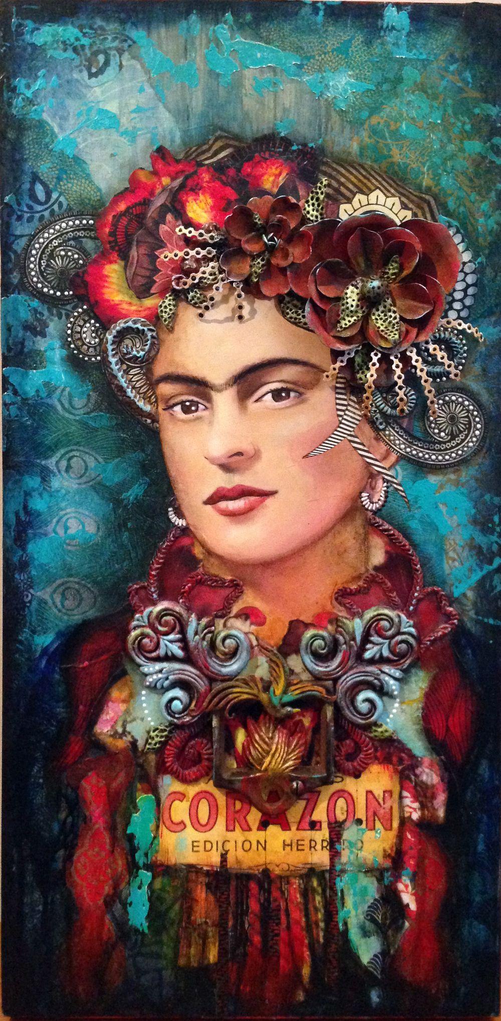 Frida Kahlo Collage-assemblage Andrea Matus Demeng