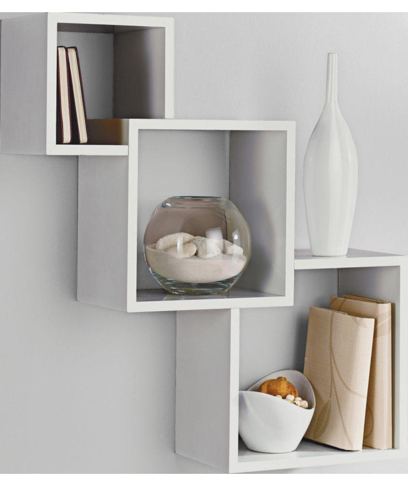 buy high gloss geometric cube shelves white at. Black Bedroom Furniture Sets. Home Design Ideas