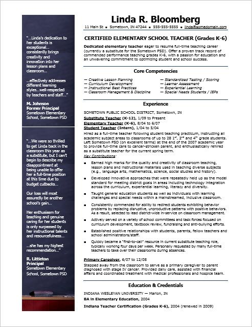 Free Teacher Resume Sample  Sample Resume Teacher And Elementary
