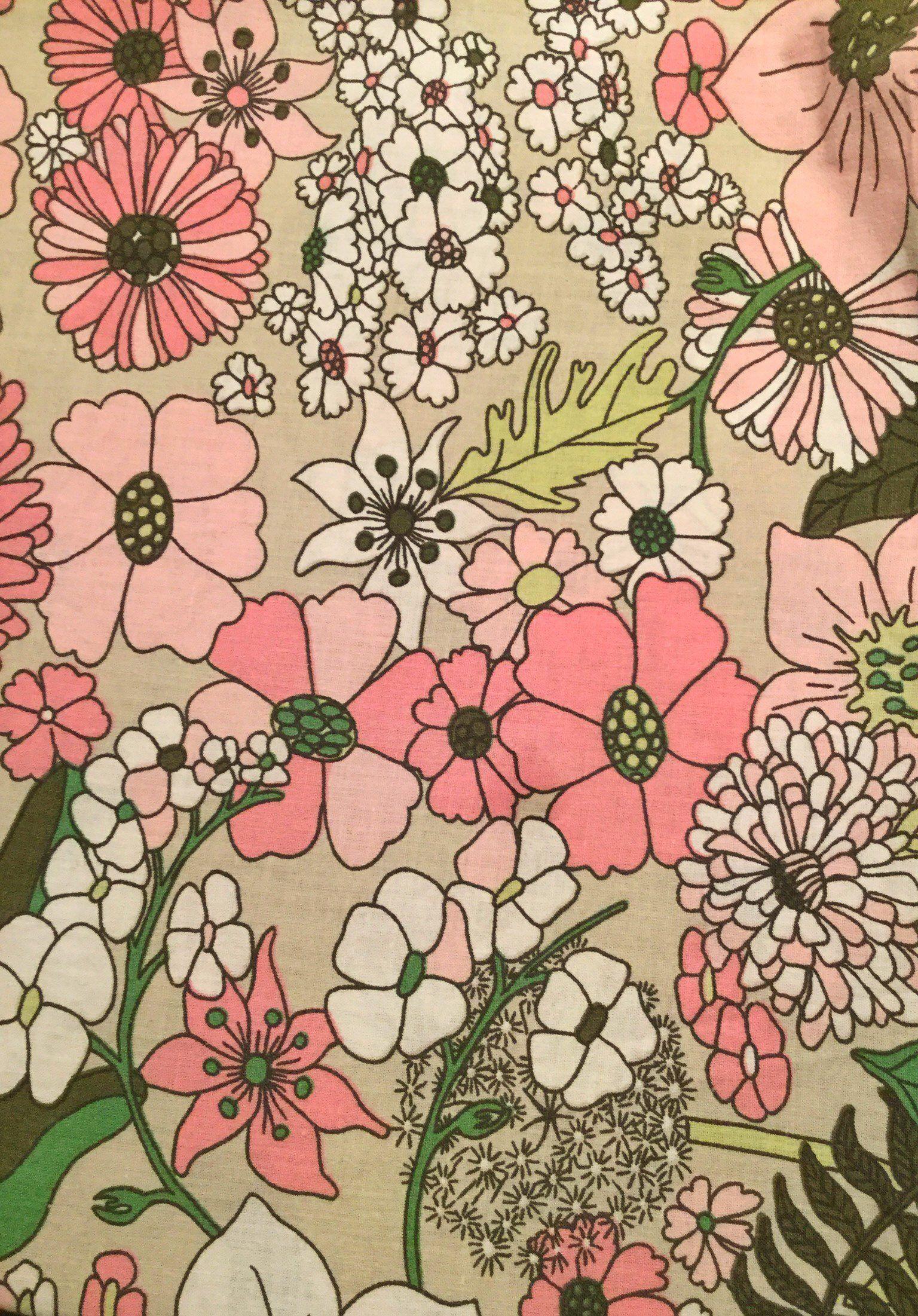 Www Inspiria Etsy Com Scandinavian Vintage Fabric Mod Scandi Fabric Pink Green Floral Pattern Svedish Design 70s Re In 2020 Retro Prints Retro Fabric Vintage Fabrics