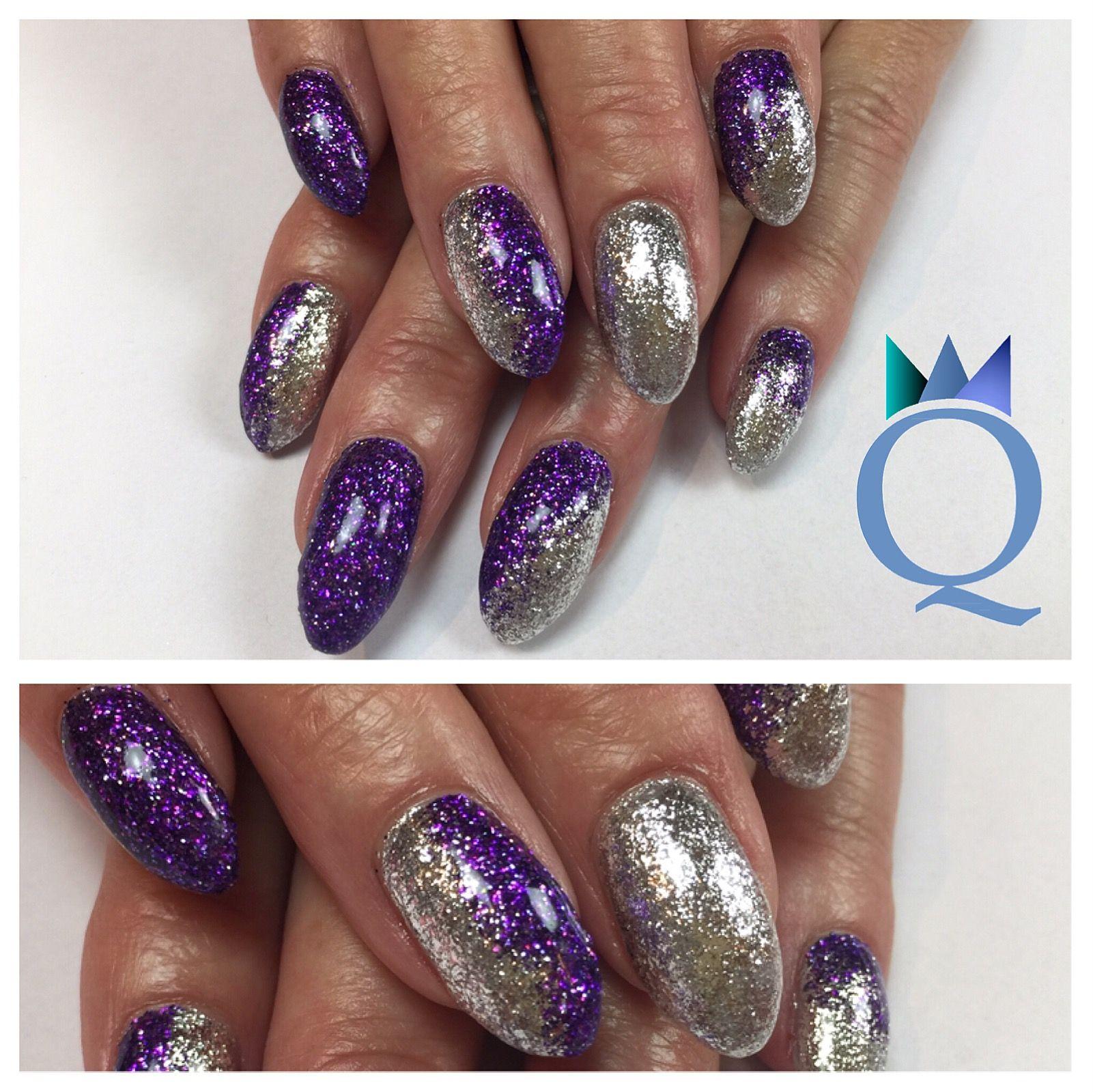 Almondnails Gelnails Nails Silver Purple Glitter Mandelform