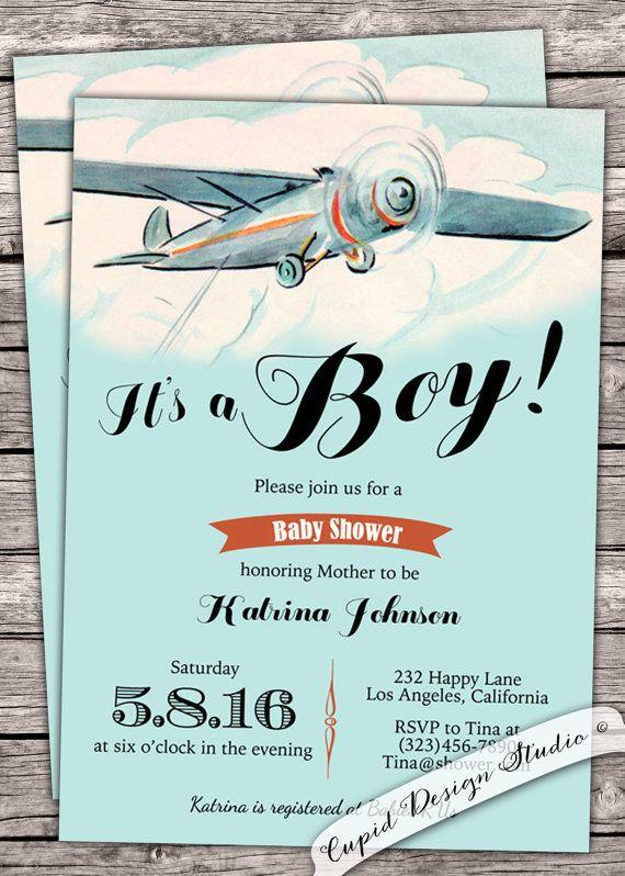 airplane boy baby shower invite invitation clouds plane burlap, Baby shower invitations