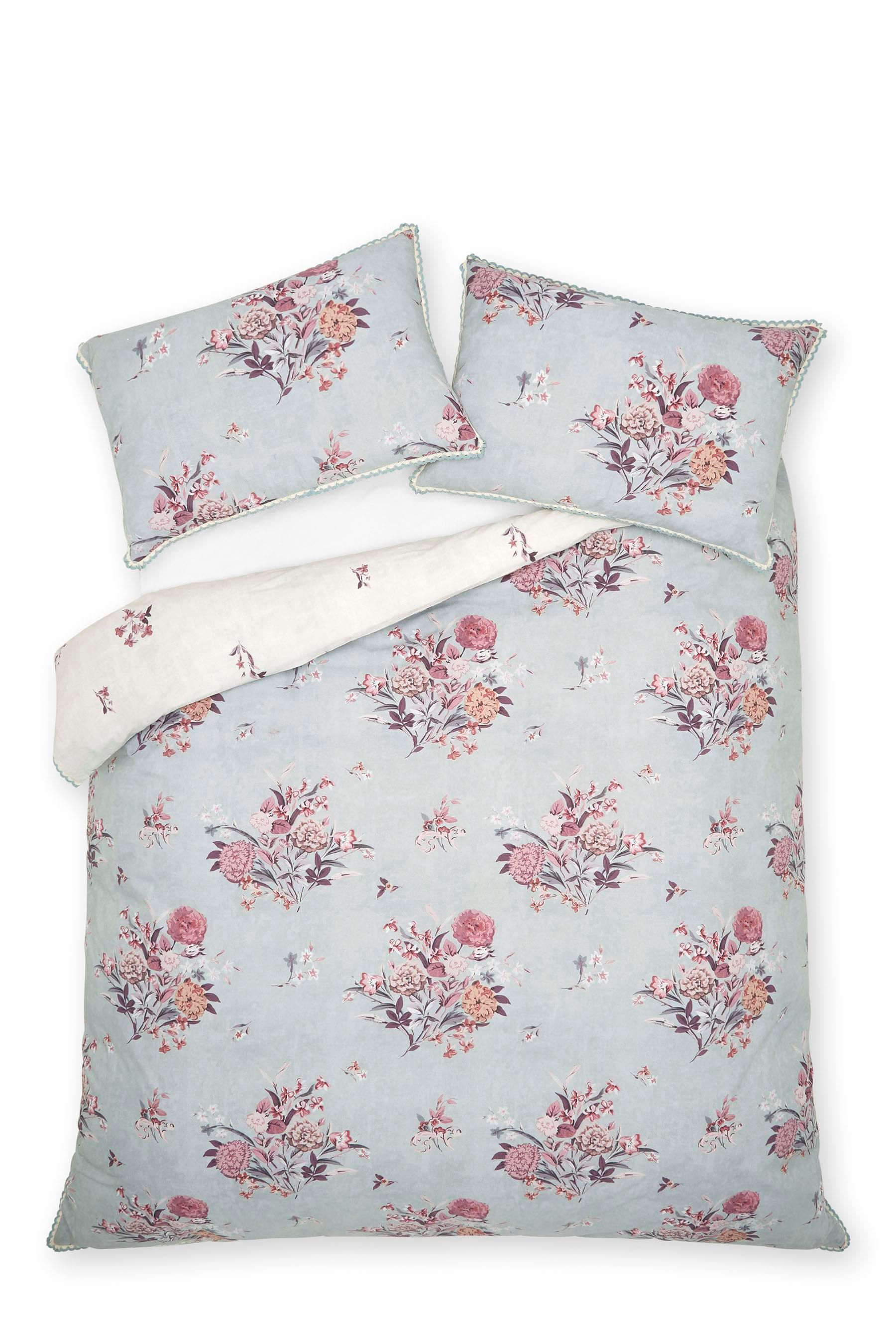 Buy Cotton Rich Stonewashed Effect Floral Bedset from the