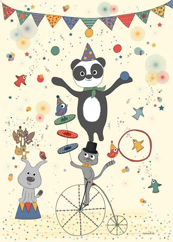 Assez Affiche Poster Illustration pour Enfant thème Cirque, Amélie Biggs  FE53