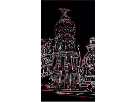 Madrid,edificio Metropolis,cuadro,pintado a mano,urbano,comic,arquitectura,ciudad,mueble,decoracion,hogar,pintura,arte