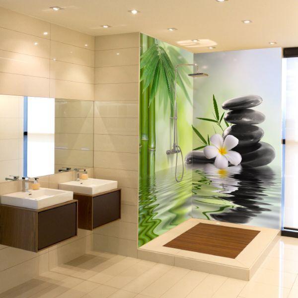 Floral 2 panneaux cr dences panneaux d coration projet salle de bains salle salle de - Panneaux d habillage pour renover sa salle de bains ...