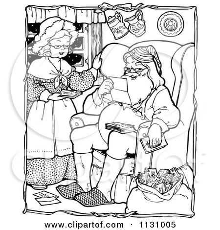Clipart Of Retro Vintage Black And White Santa And Mrs Claus