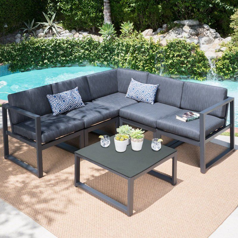 Best Dimatteo 6 Piece Sectional Set With Cushions Outdoor 400 x 300