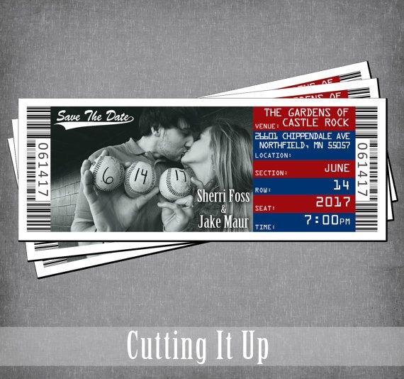 baseball wedding save the date ticket magnet sports theme tickets