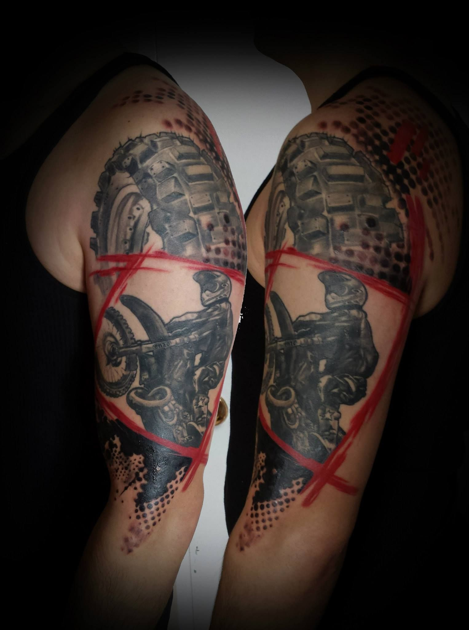chronic ink tattoo toronto tattoo dirt bike  sleeve  csaba trash polka tattoos