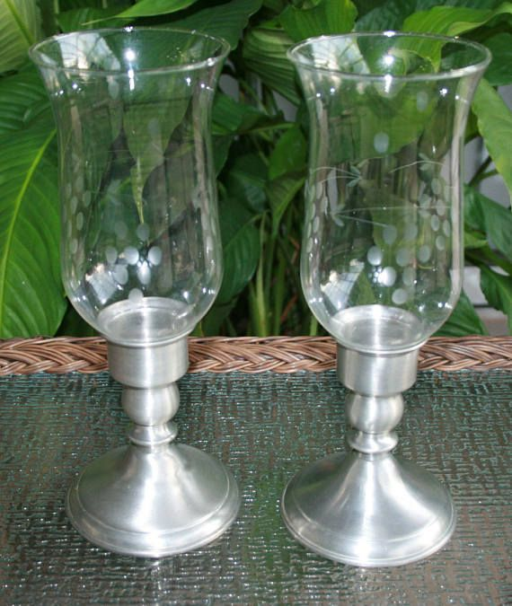 Vintage Leonard Hurricane Candle Holders With Gl Etched