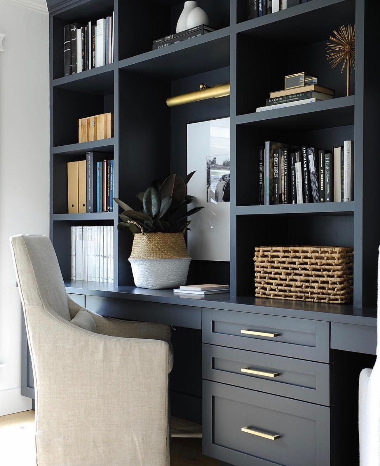 Homeoffice Space Design Ideas: Love This Built In Desk Are In Dark Blue Charcoal For A