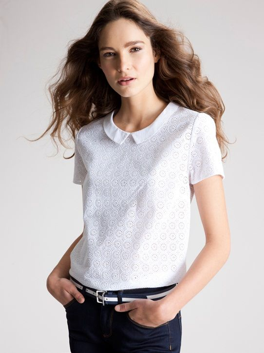 Anglaise Top Femme Blanc Broderie jauneMode En 8P0Okwn