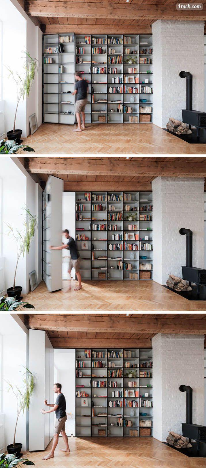 Hidden Door Bookcase Room Divider Bookshelves In Bedroom Floor To Ceiling