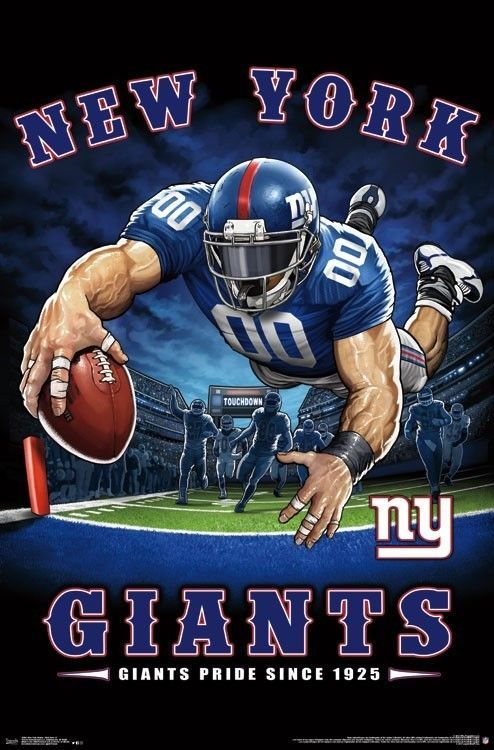 official photos f5d2e d2b2d $8.95 - York Giants - End Zone Mascot Poster - 22X34 - Nfl ...