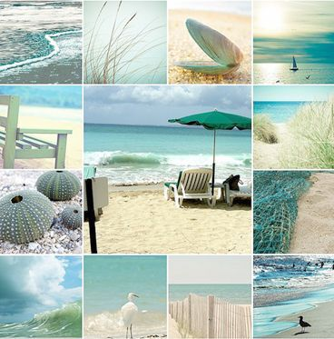 Turquoise ocean-color inspiration...i like that it's not just one color turq, but rather from light to dark and from a green shade to blue...maybe each bridesmaids are in a different shade of turquoise?