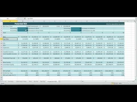 Investment Property Spreadsheet Real Estate Excel ROI Income NOI