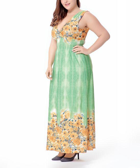 Green Floral Shirred-Waist Maxi Dress - Plus