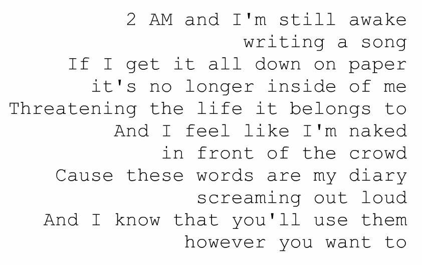 Breathe 2am Anna Nalick Favorite Lyrics Great Song Lyrics Words