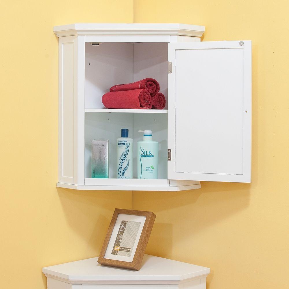 Digital Art Gallery Bathroom Wall Cabinet Corner White Shutter Door Storage Adjustable Shelves New